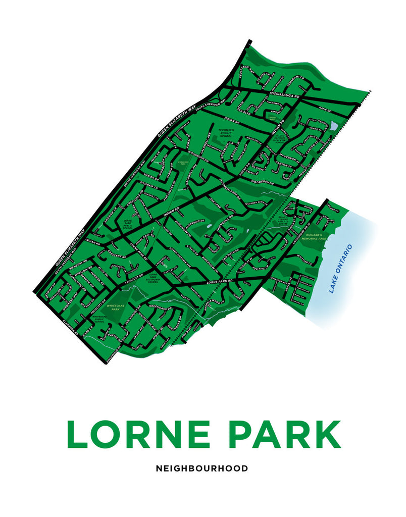 Lorne Park Neighbourhood Map Print