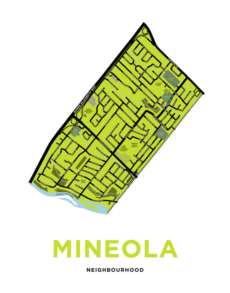 Mineola Neighbourhood Map Print