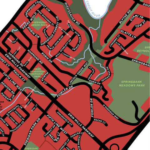 Sheridan Neighbourhood Map Print (Mississauga)