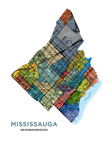 Mississauga Neighbourhoods Map Print