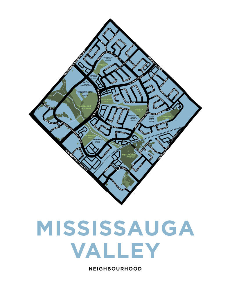 Mississauga Valley Neighbourhood Map Print