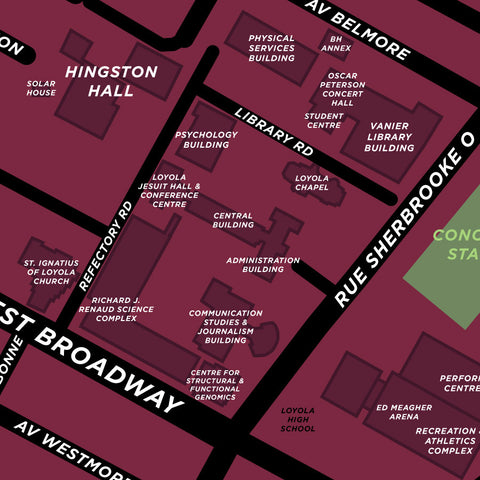 Concordia University Campus Map Print - Loyola