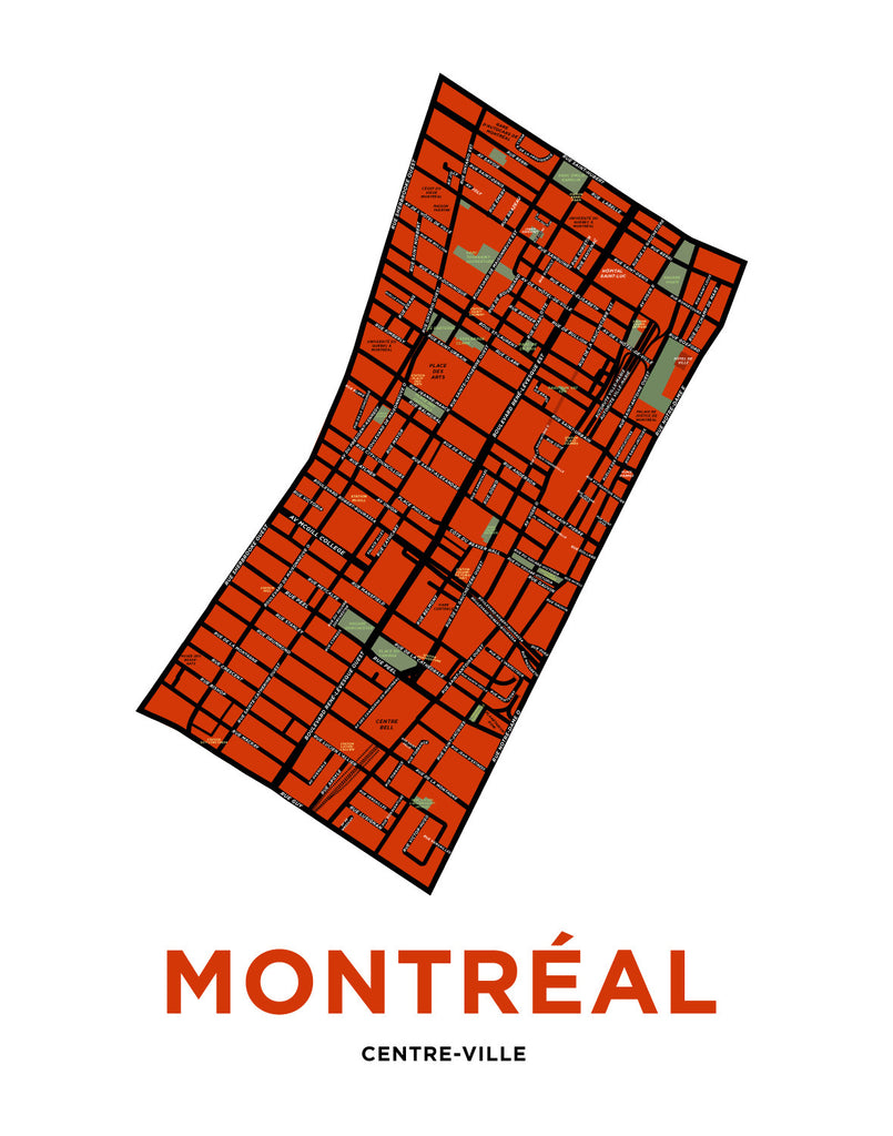 Montreal Downtown Centre Ville Map Print Jelly Brothers
