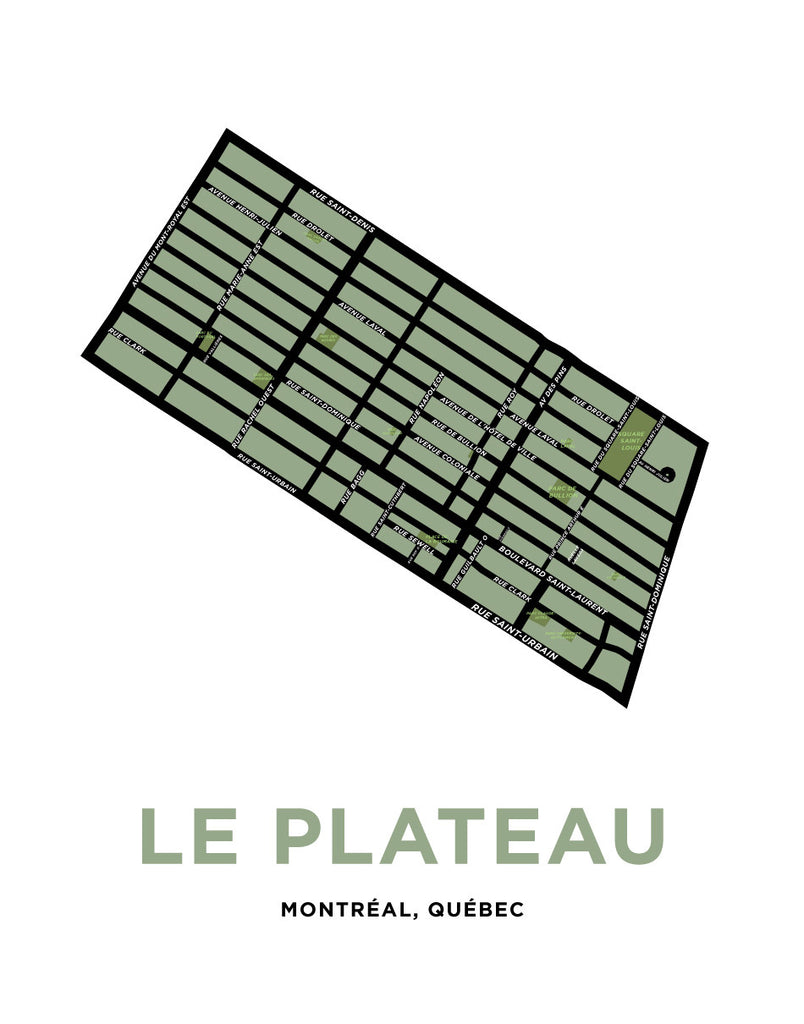 Le Plateau Neighbourhood Map Print (Montréal)