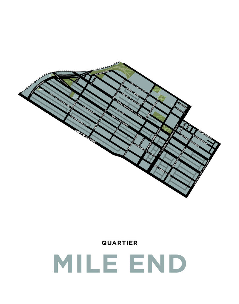 photograph about Printable Map of Montreal titled Mile Stop Neighbourhood Map Print (Montréal)