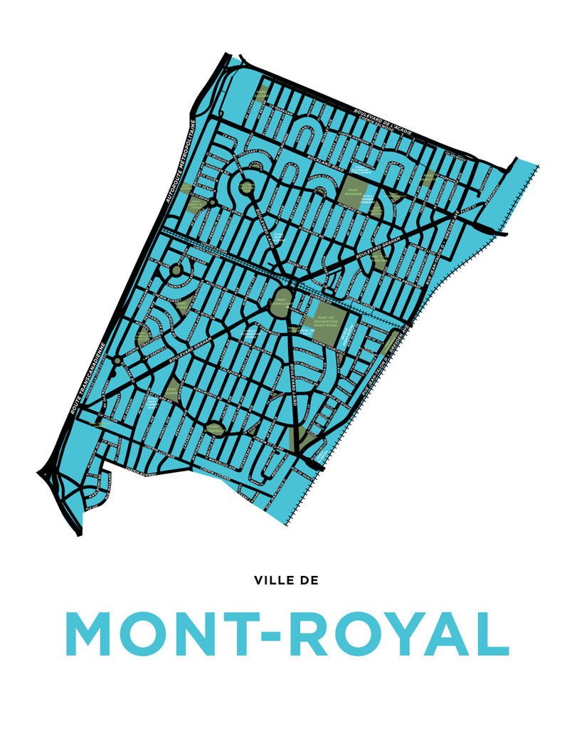 Town of Mont-Royal Map Print (Extended Version)