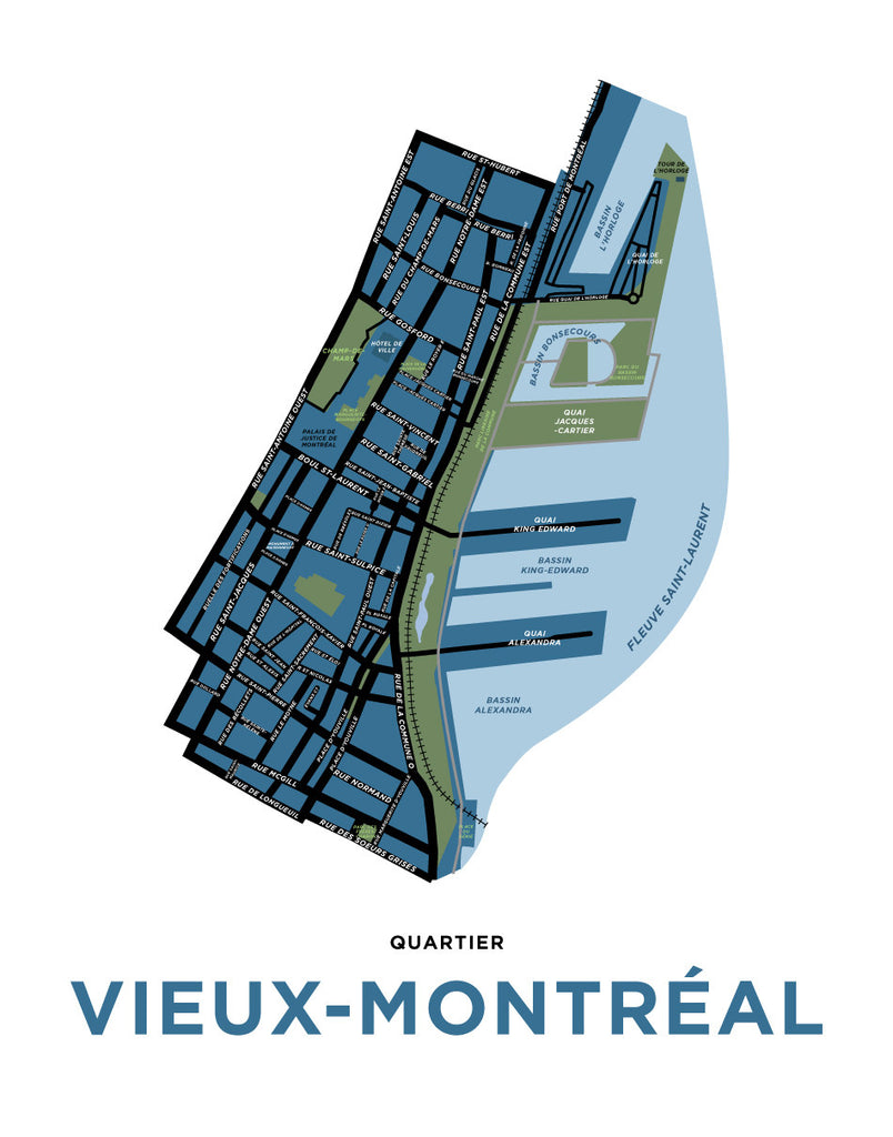 Old Montreal Map Print