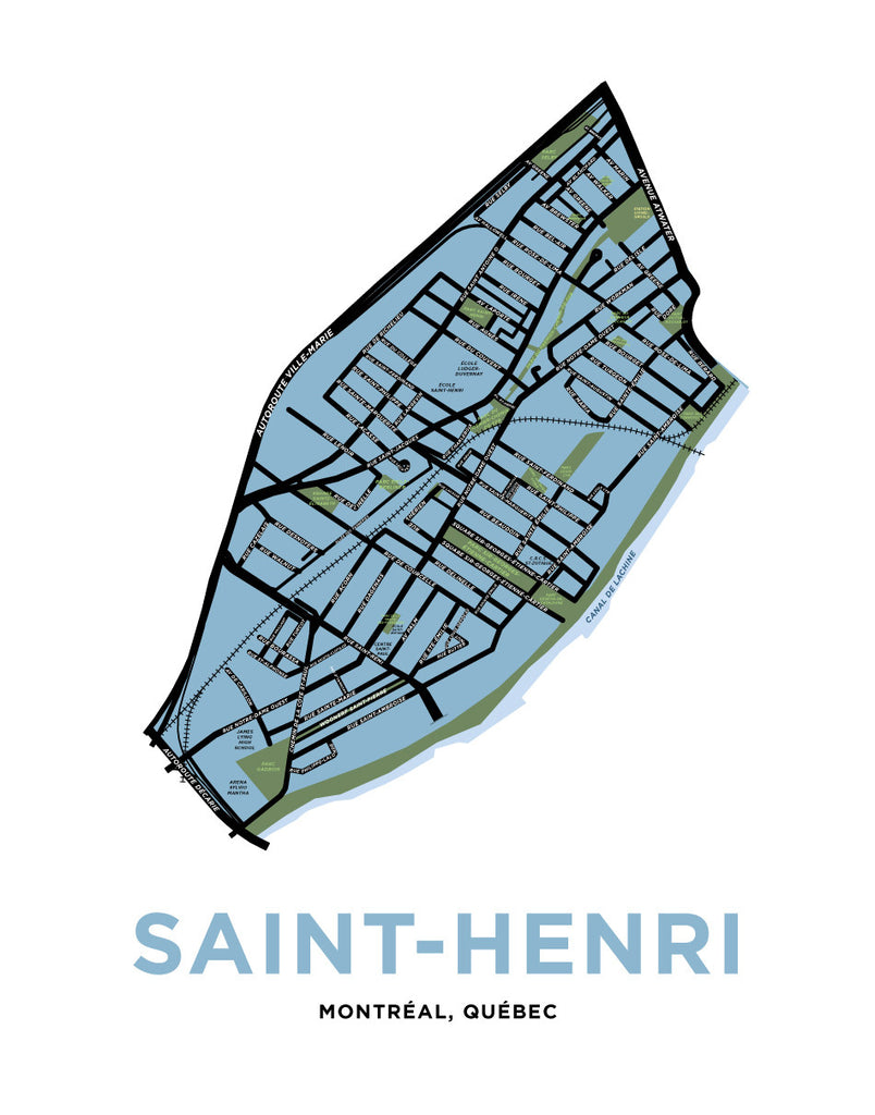 Saint-Henri Neighbourhood Map Print (Montréal)
