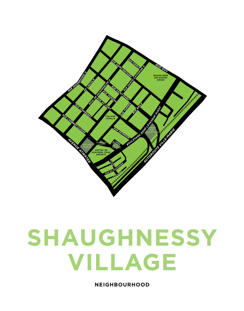 Shaughnessy Village Neighbourhood Map Print (Montréal)