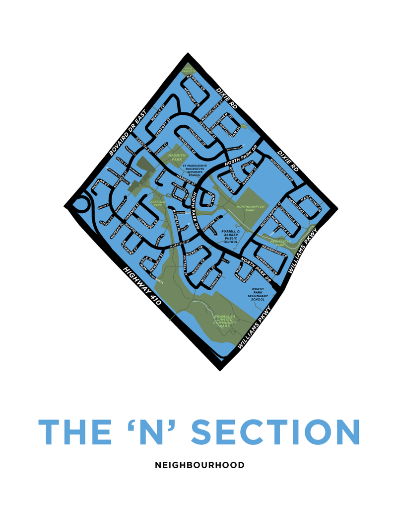 N Section Neighbourhood Map Print