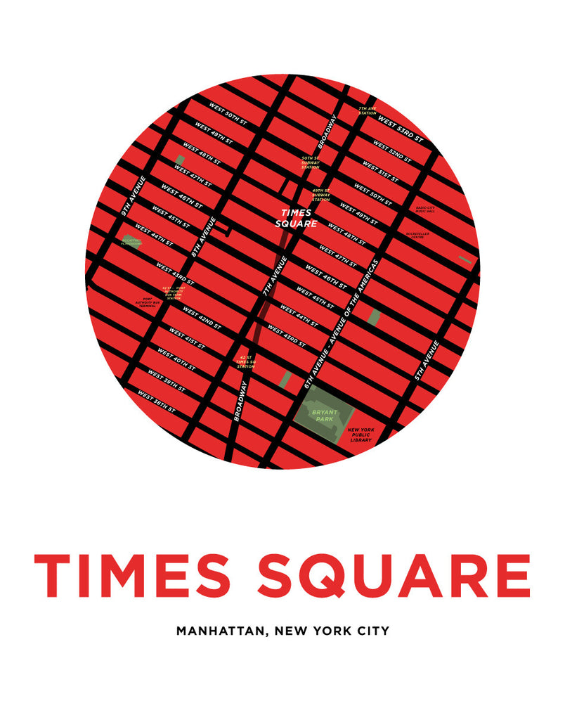 Times Square Map Print
