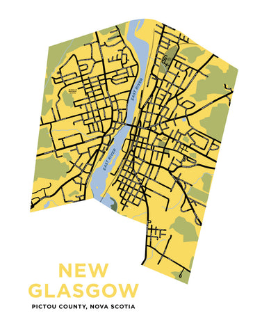 New Glasgow, Nova Scotia Map Print