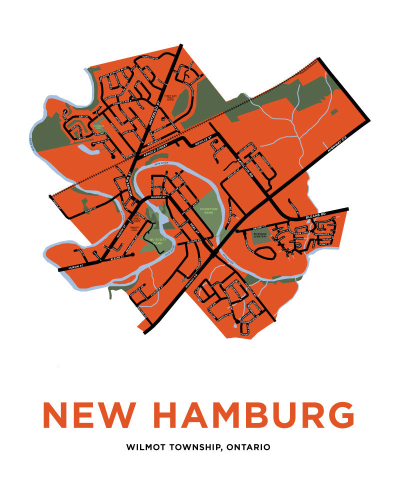 New Hamburg Map Print (Waterloo Region)