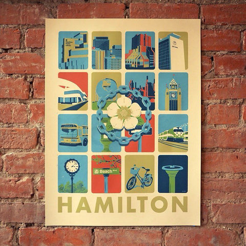 Hamilton Grid Screen Printed Poster