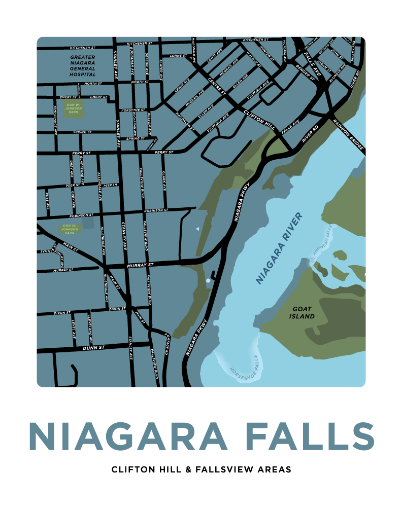 Niagara Falls - Clifton Hill & Fallsview Areas Map Print