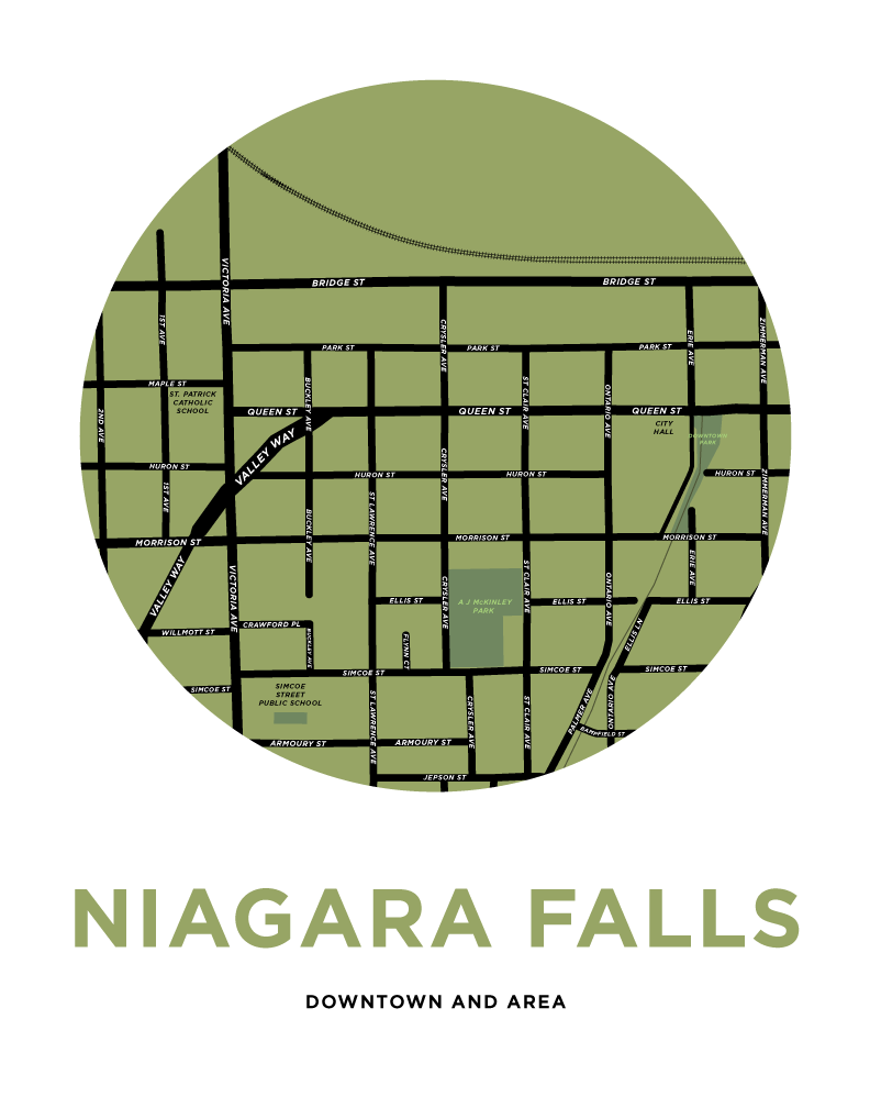 Downtown Niagara Falls Map Print