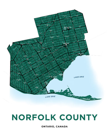 Norfolk County Map Print