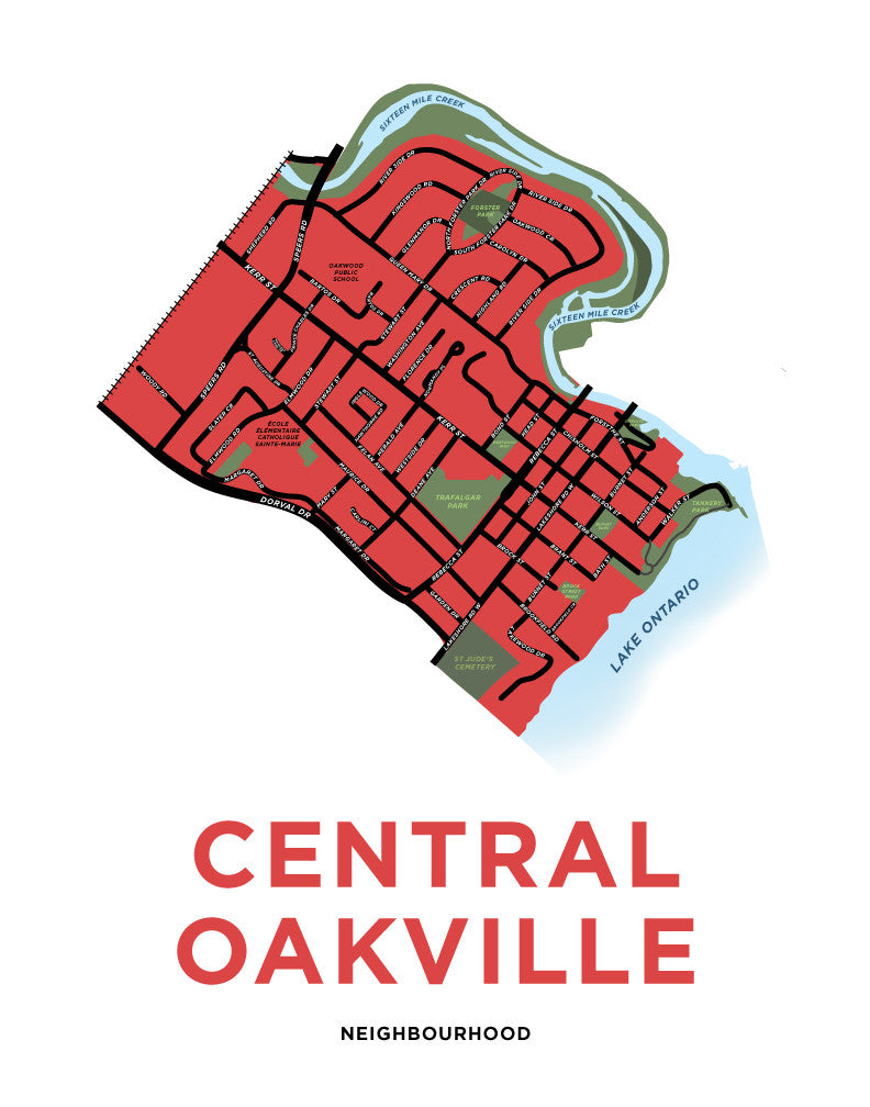 Central Oakville Neighbourhood Map Print