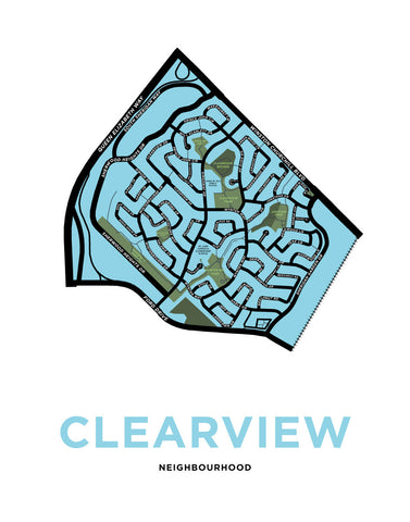 Clearview Neighbourhood Map Print (Oakville)