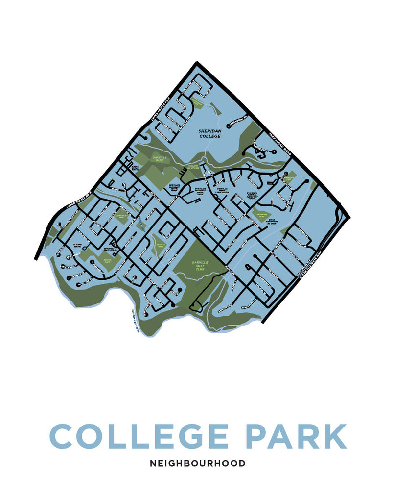 College Park Neighbourhood Map Print (Oakville)