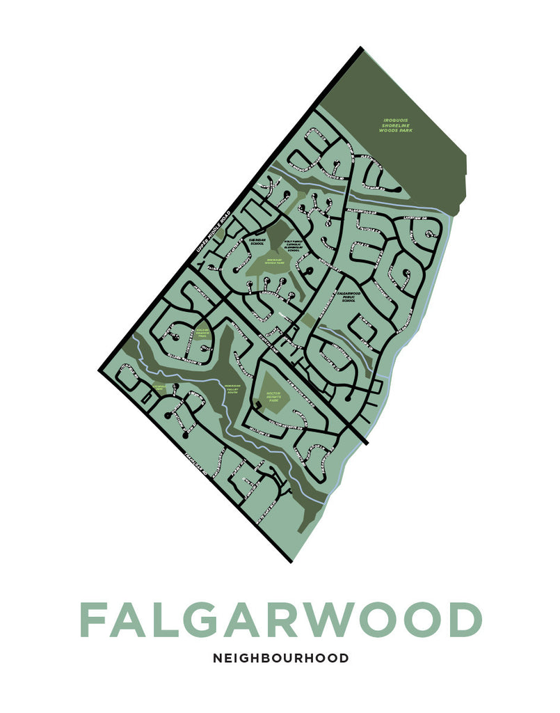 Falgarwood Neighbourhood Map Print (Oakville)