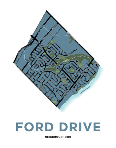 Ford Drive Neighbourhood Map Print