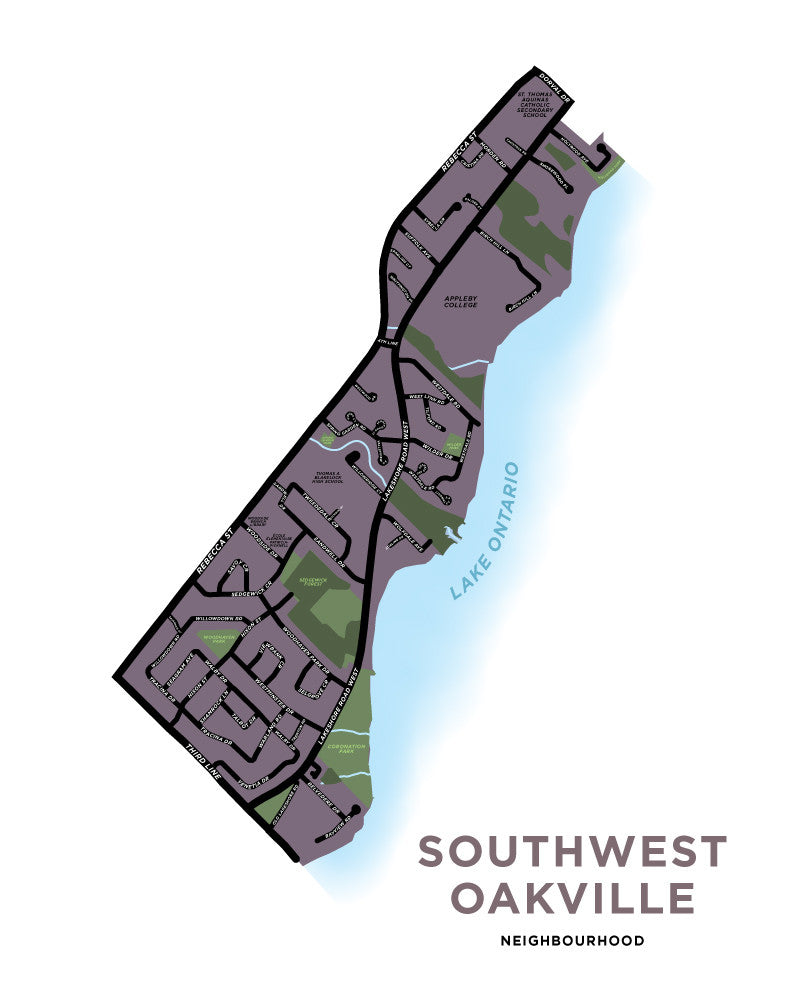 Southwest Oakville Neighbourhood Map Print