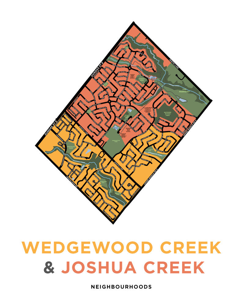 Wedgewood Creek & Joshua Creek Neighbourhoods Map Print