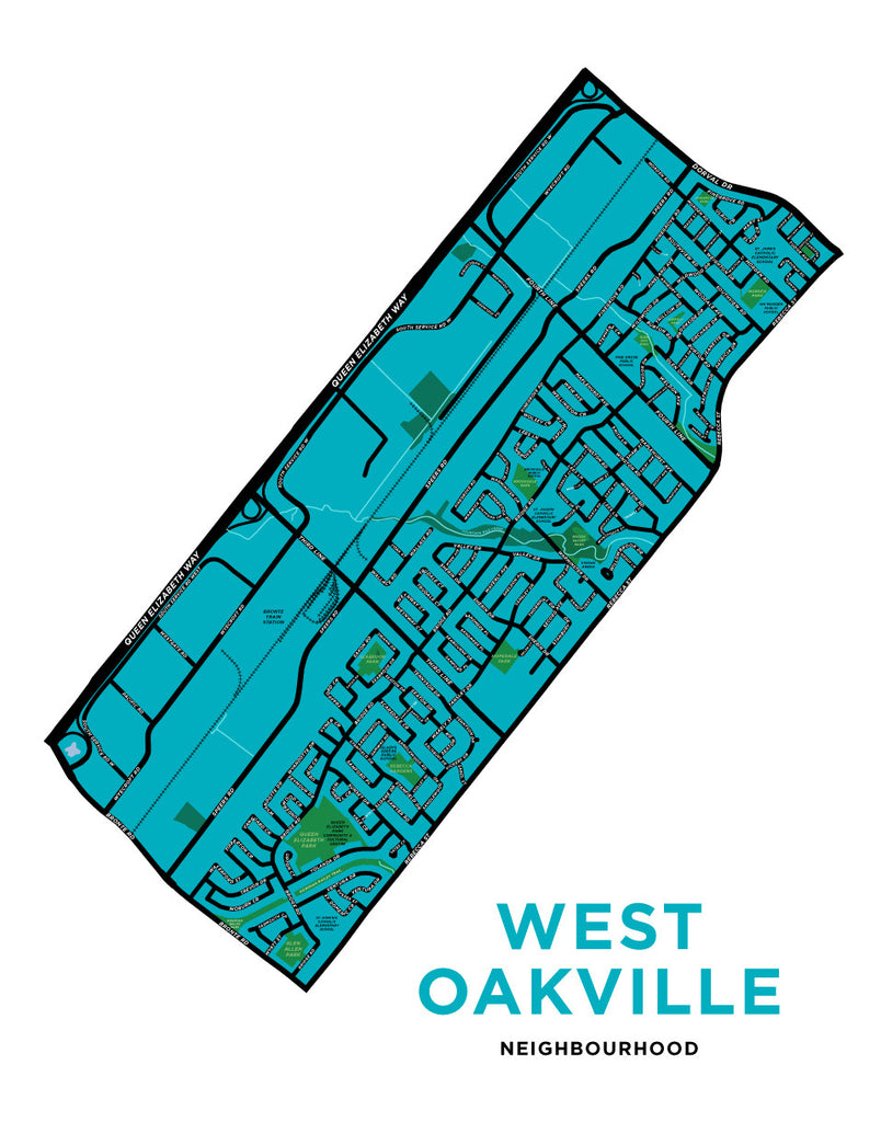 West Oakville Neighbourhood Map Print