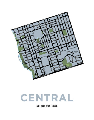 Central Neighbourhood Map Print (Oshawa)