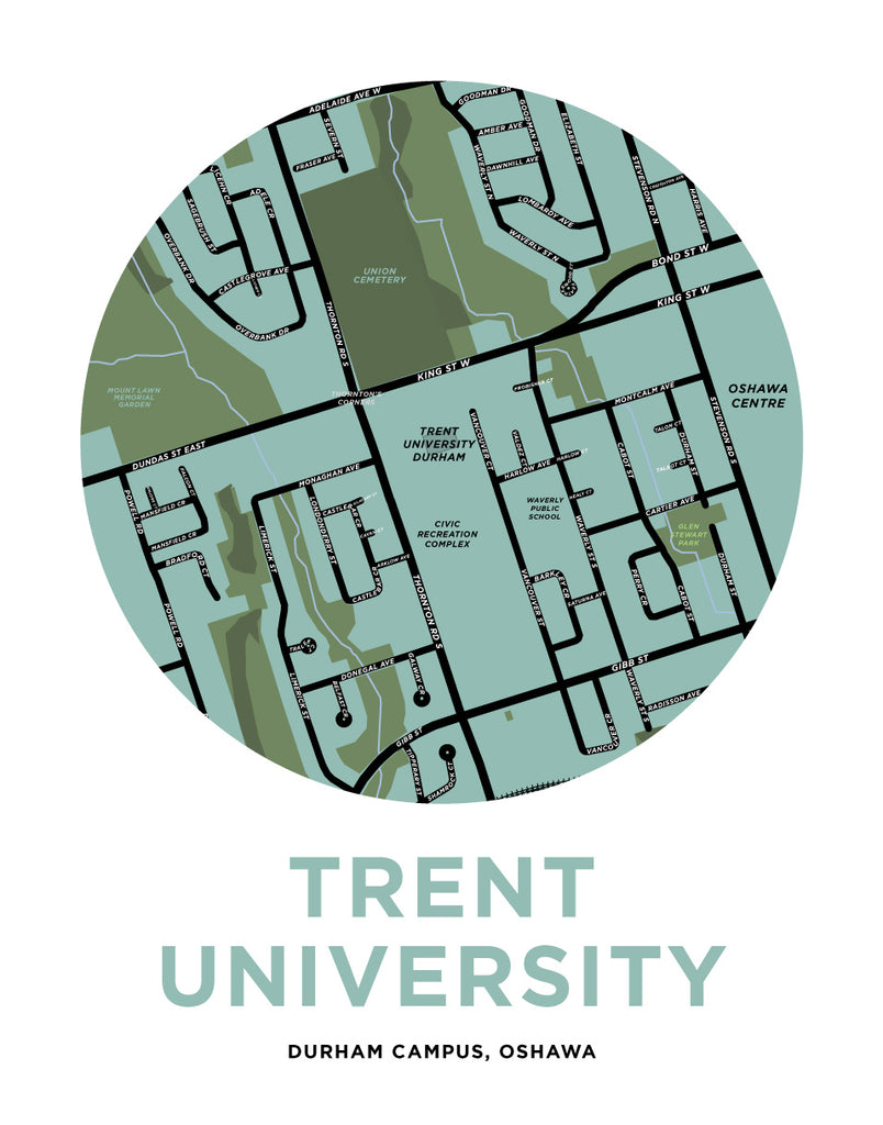 King University Campus Map.Trent University Durham Campus Map Print Oshawa Jelly Brothers