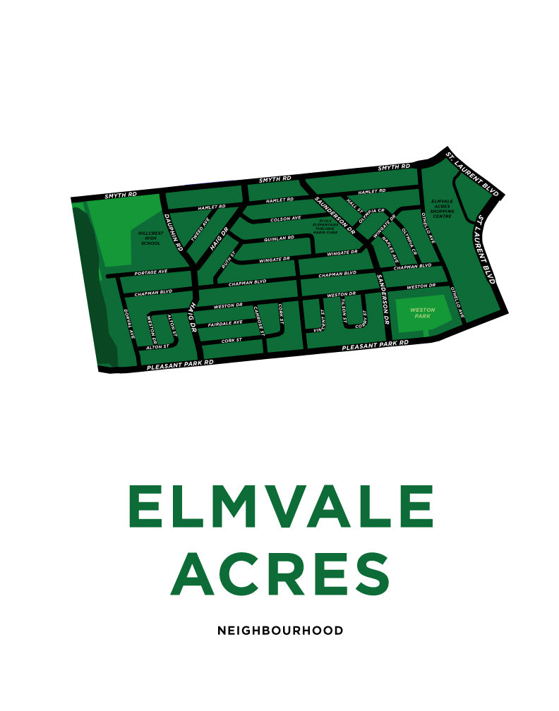Elmvale Acres Neighbourhood Map Print