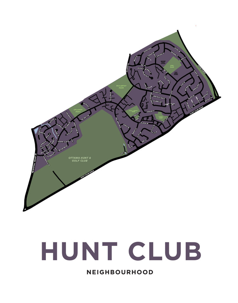 Ottawa - Hunt Club Neighbourhood Map Print