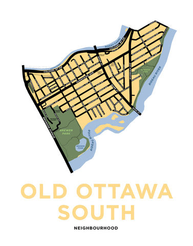 Old Ottawa South Neighbourhood Map Print