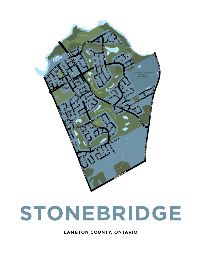 Stonebridge Neighbourhood Map Print