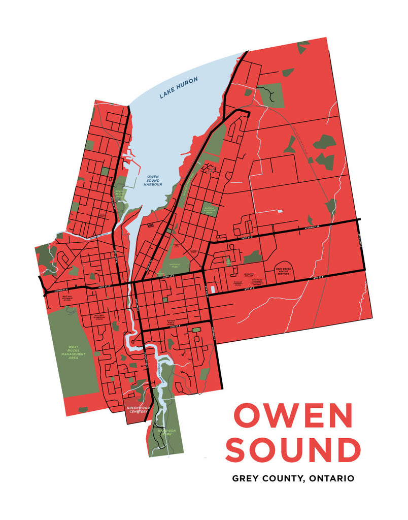 Owen Sound Map Print Jelly Brothers