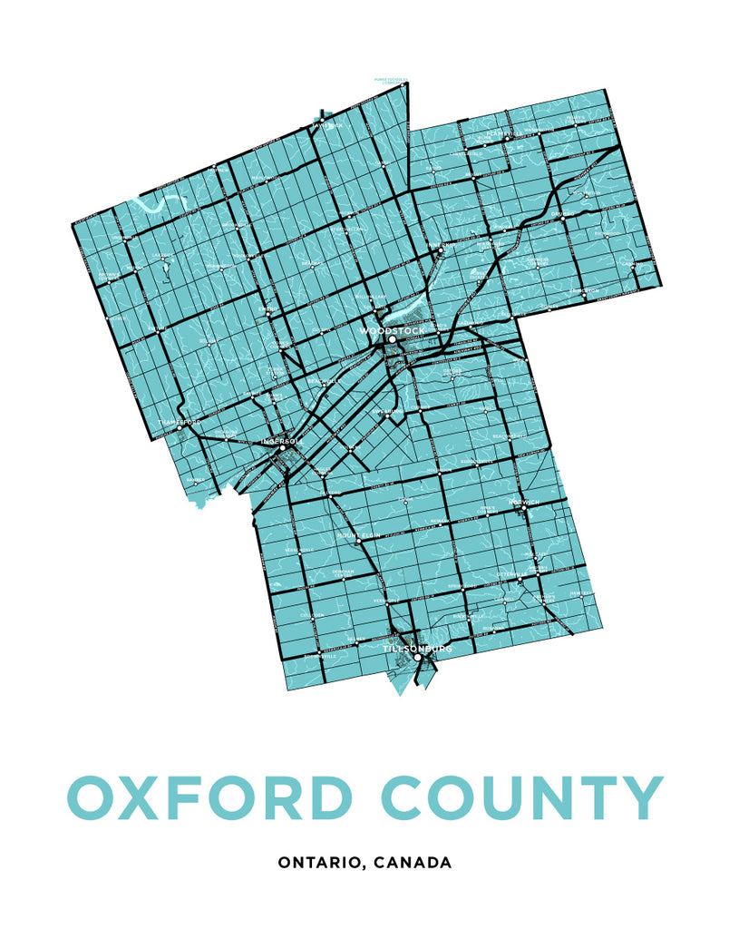 Oxford County Map Print