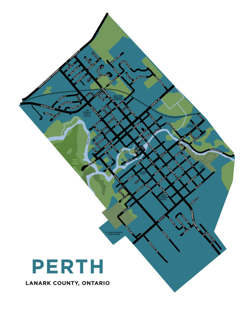 Perth, Ontario Map Print (Lanark County) - Jelly Brothers