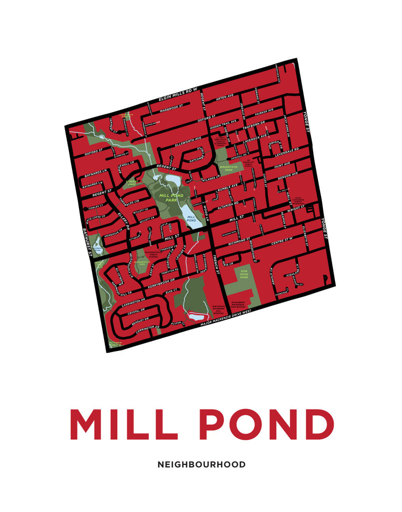 Mill Pond Neighbourhood Map Print (Richmond Hill)