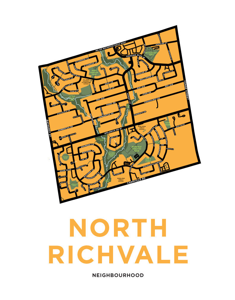North Richvale Neighbourhood Map Print (Richmond Hill)