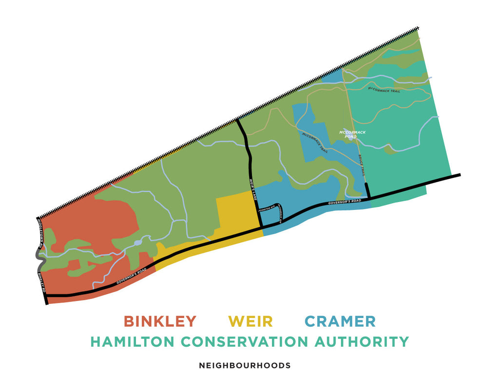 Binkley, Weir, Cramer Neighbourhoods in Dundas - Map Print