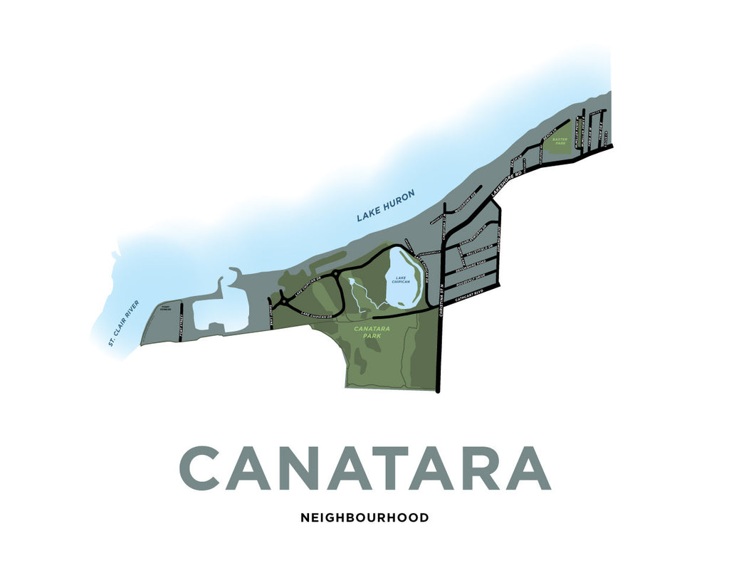 Canatara Neighbourhood Map Print (Sarnia)