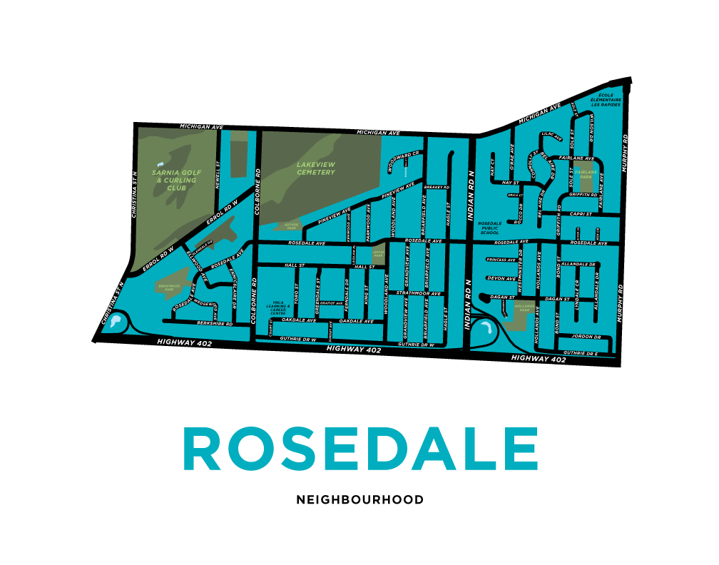 Rosedale Neighbourhood Map Print (Sarnia)