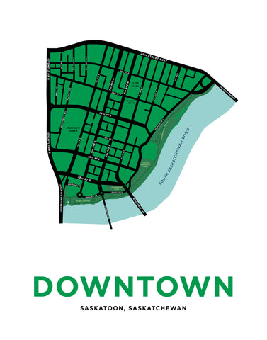 Saskatoon - Downtown Neighbourhood Map Print
