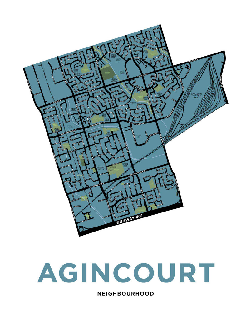 Agincourt Neighbourhood Map Print