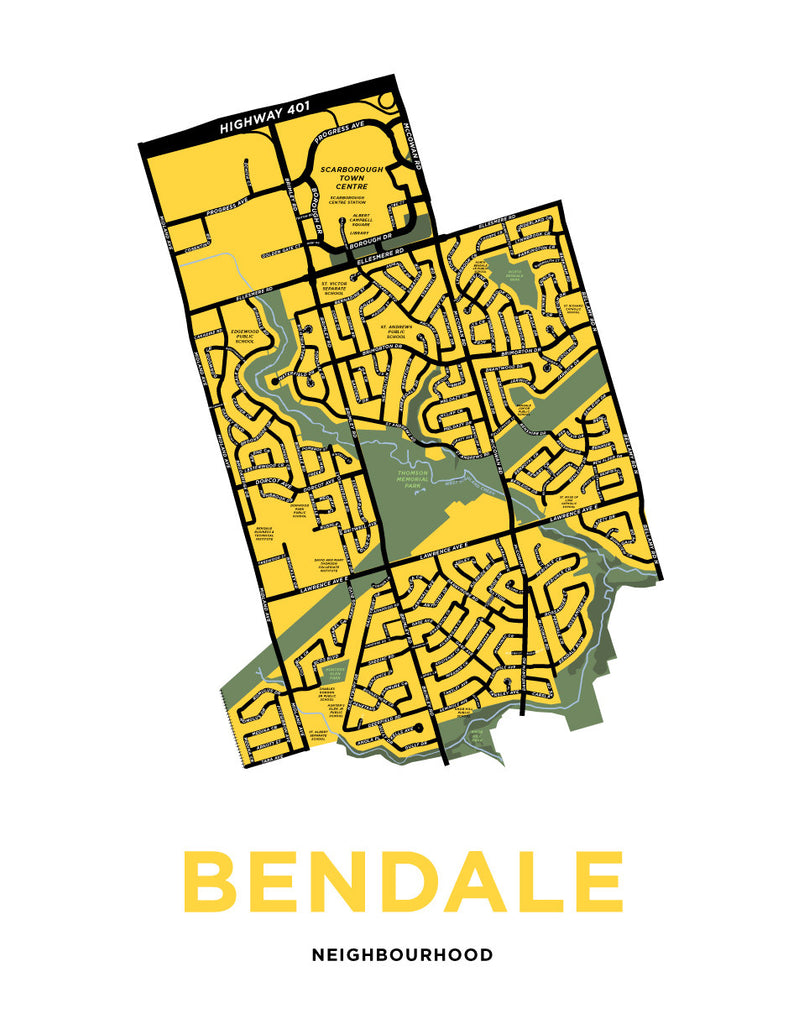 Bendale Neighbourhood Map Print