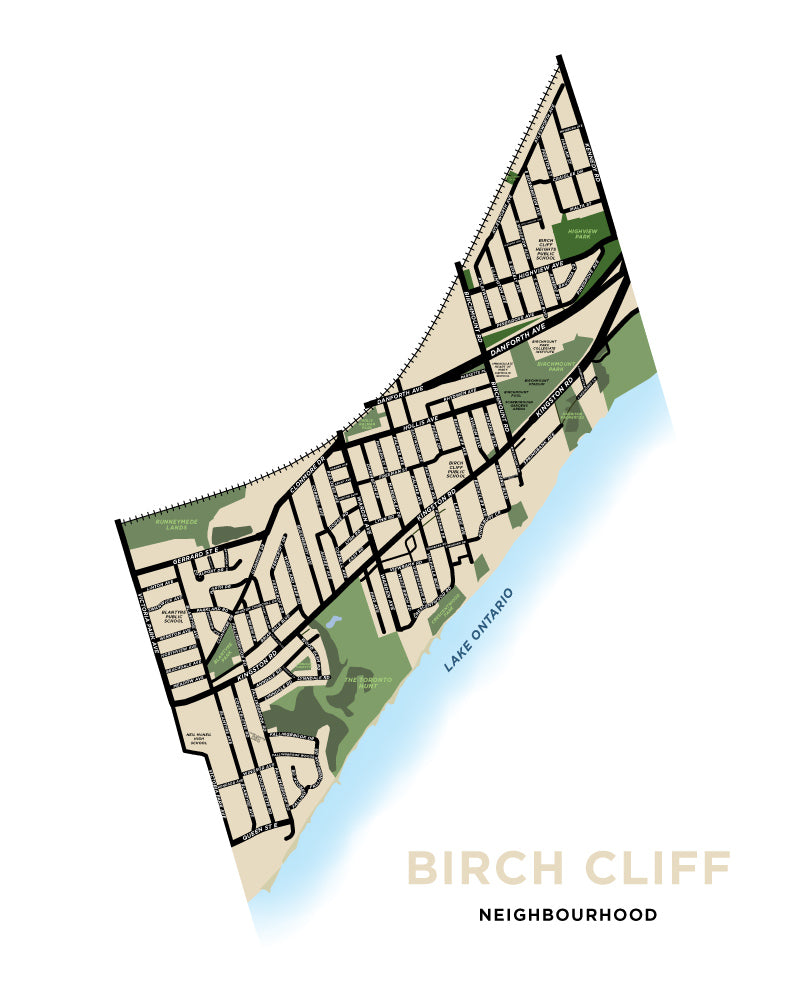 Birch Cliff Neighbourhood Map Print