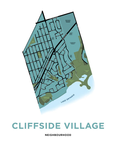 Cliffside Village Neighbourhood Map Print