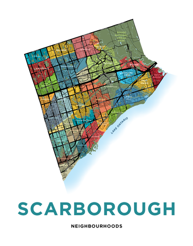 Scarborough Neighbourhoods Map Print
