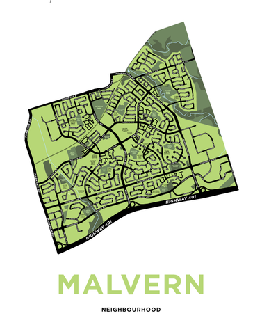 Malvern Neighbourhood Map Print